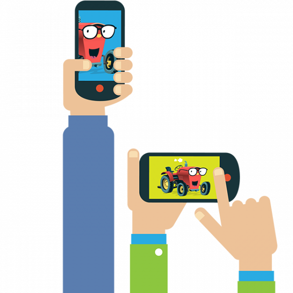 Hände mit Smartphones mit Traktor Konni