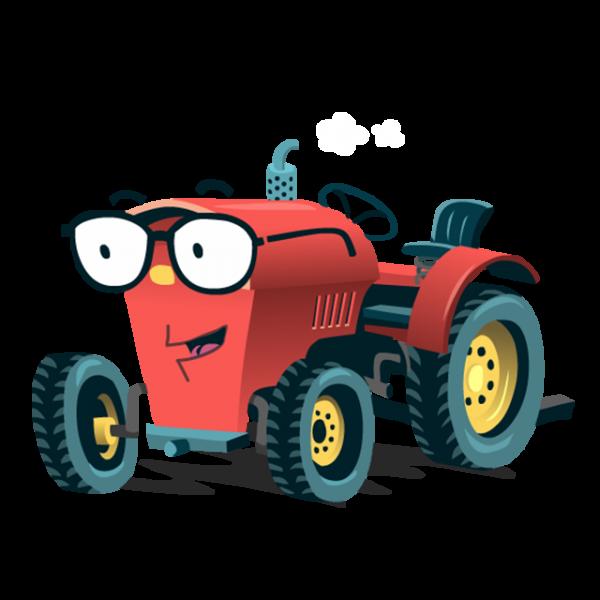 Konni der Traktor - gezeichneter Traktor mit Brille